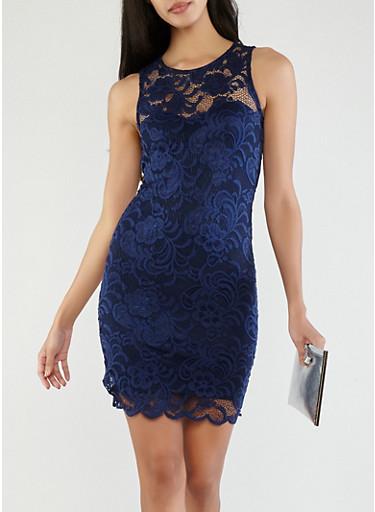 Sleeveless Lace Tank Dress,NAVY,large