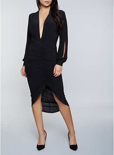Split Sleeve Ruched Midi Dress,BLACK,large