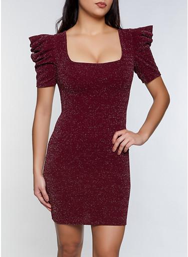 Lurex Pleated Sleeve Dress,BURGUNDY,large