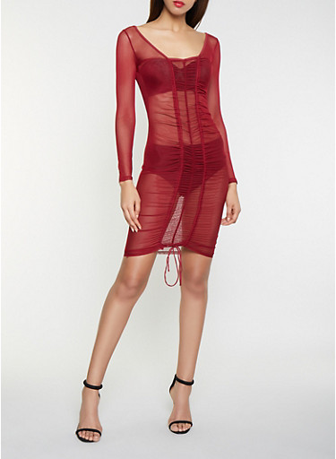 Ruched Mesh Bodycon Dress,WINE,large