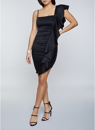 Ruffle Detail Scuba Dress,BLACK,large