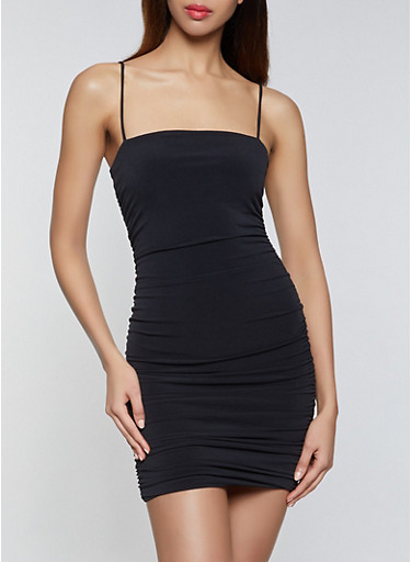 Ruched Bodycon Dress,BLACK,large