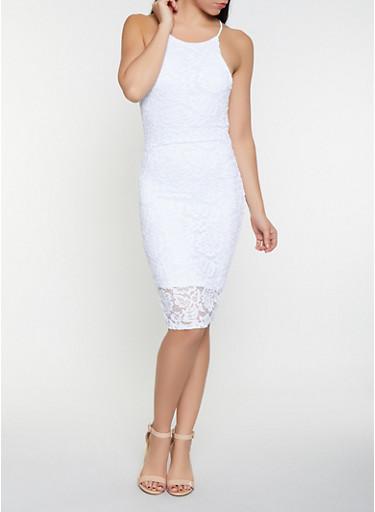 Lace Bodycon Dress,WHITE,large