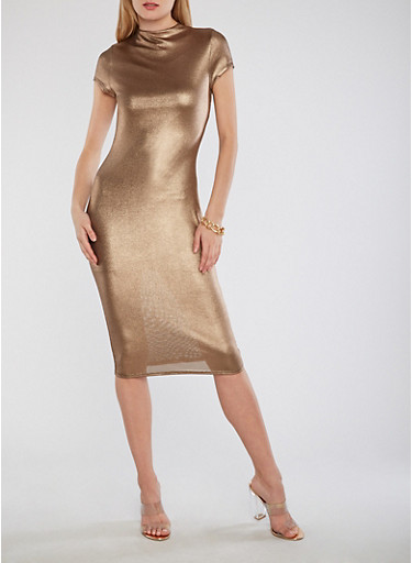 Metallic Funnel Neck Bodycon Dress,GOLD,large