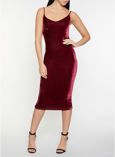 Crushed Velvet Bodycon Dress,WINE,large