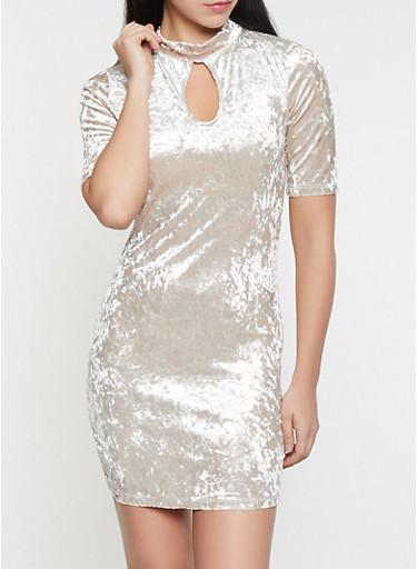 Crushed Velvet Keyhole Dress,STONE,large