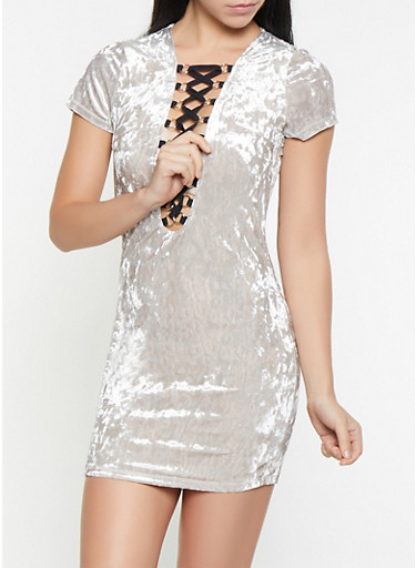 Lace Up Crushed Velvet Dress,GRAY,large