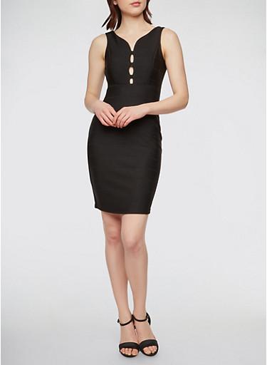Zip Back Bandage Dress,BLACK,large