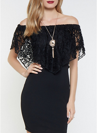 Crochet Overlay Off the Shoulder Dress with Necklace,BLACK,large