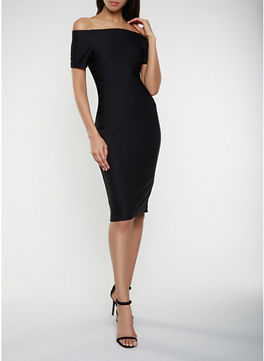 Off the Shoulder Bandage Dress with Back Zipper,BLACK,large