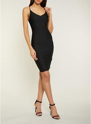 V Neck Bandage Dress,BLACK,large