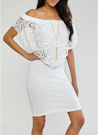 Lace Overlay Off the Shoulder Dress,IVORY,large