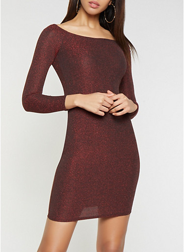 Shimmer Knit Bodycon Dress,RED,large