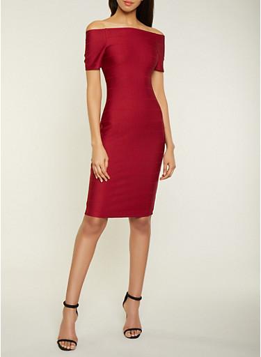 Off the Shoulder Midi Bandage Dress,WINE,large