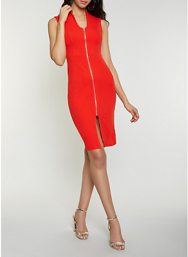 Zip Front Midi Dress,RED,large
