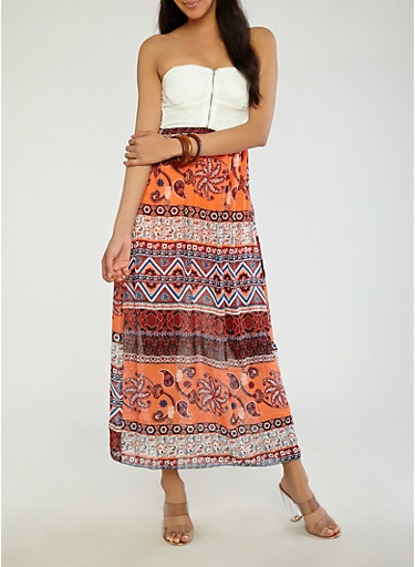 Lace Top Printed Maxi Dress,RUST,large