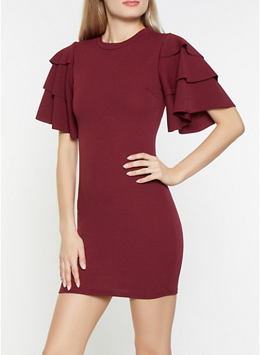 Tiered Sleeve Bodycon Dress,WINE,large