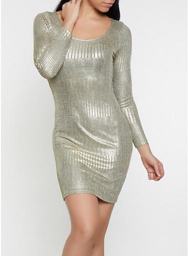 Foil Burnout Long Sleeve Dress,GOLD,large
