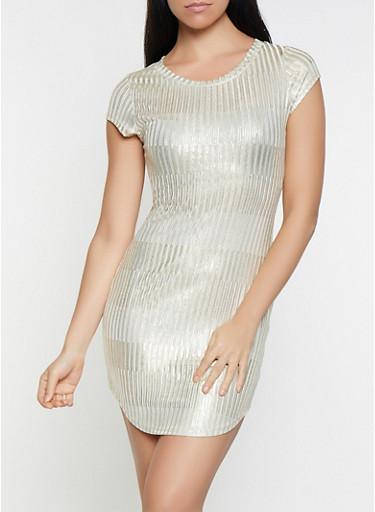Foil Striped Bodycon Dress,GOLD,large