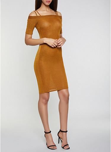 Off the Shoulder Glitter Knit Dress,BROWN,large