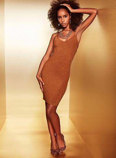 Glitter Knit Bodycon Dress,BROWN,large