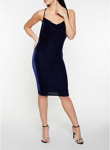 Criss Cross Back Velvet Bodycon Dress,NAVY,large