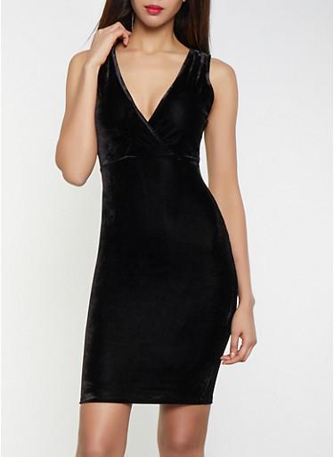 Velvet Faux Wrap Bodycon Dress,BLACK,large