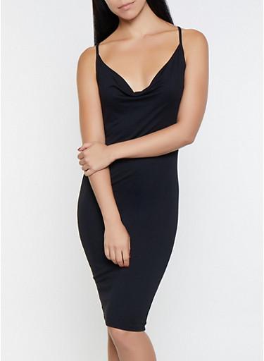 Sleeveless Bodycon Dress,BLACK,large
