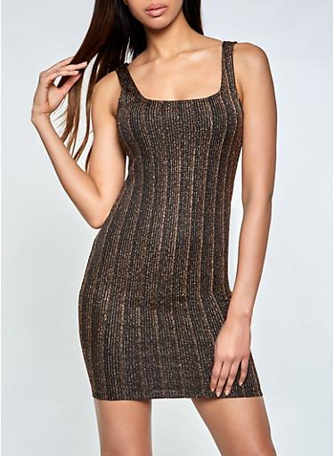 Lurex Bodycon Mini Dress,GOLD,large
