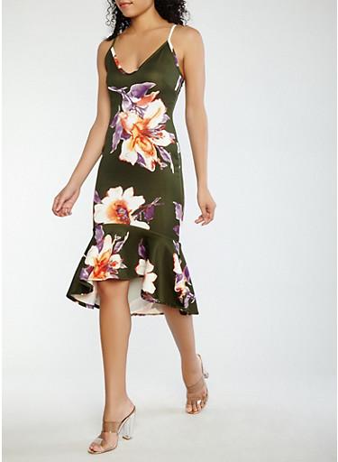 Floral High Low Scuba Dress,OLIVE,large