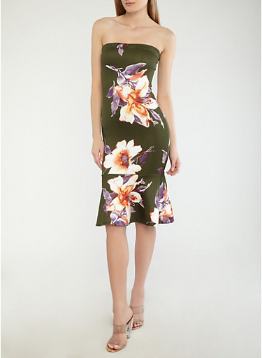 Floral Tube Dress with Ruffled Hem,OLIVE,large