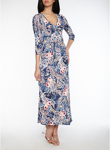 Floral Paisley Print Faux Print Dress,NAVY/ROSE/TAUPE,large