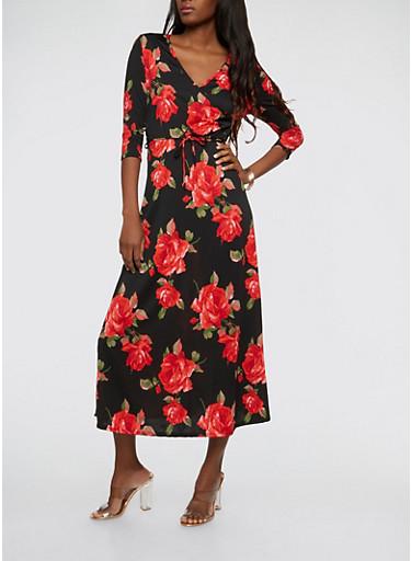 Floral Faux Wrap Maxi Dress,BLACK,large