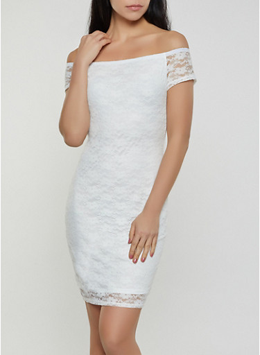 Lace Off the Shoulder Dress,IVORY,large