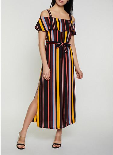 Striped Off the Shoulder Tie Waist Maxi Dress,MULTI COLOR,large