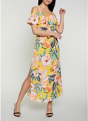 Tropical Print Off the Shoulder Maxi Dress,YELLOW,large