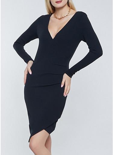 Textured Knit Faux Wrap Bodycon Dress,BLACK,large