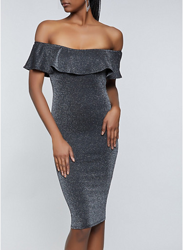 Off the Shoulder Lurex Dress,SILVER,large