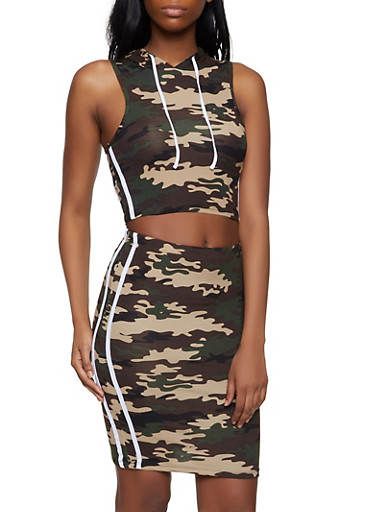 Camo Hooded Crop Top and Pencil Skirt Set,OLIVE,large