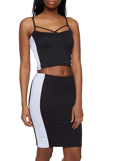 Color Block Caged Tank Top and Skirt Set,BLACK/WHITE,large