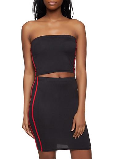 Varsity Stripe Tube Top and Pencil Skirt Set,BLACK,large