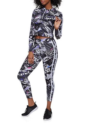 Magazine Print Hooded Top and Leggings Set,BLACK/WHITE,large