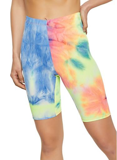 Tie Dye Rib Knit Bermuda Biker Shorts,PINK,large
