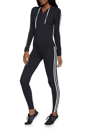 Varsity Stripe Soft Knit Sweatshirt and Leggings Set,BLACK/WHITE,large