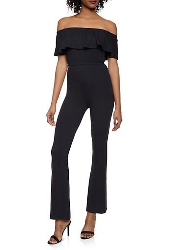 Off the Shoulder Crop Top and Flared Pants Set,BLACK,large
