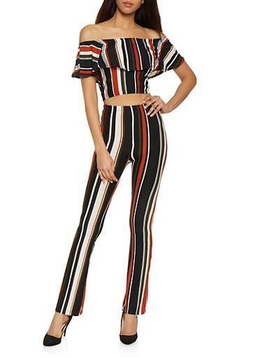 Striped Off the Shoulder Top and Flared Pants Set,ORANGE,large