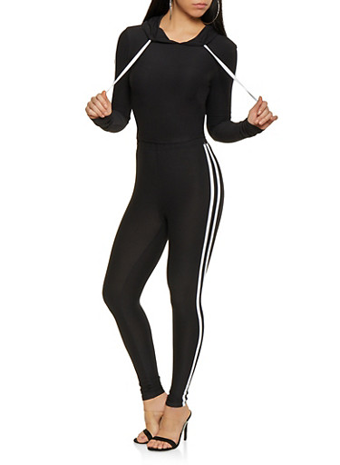 Varsity Stripe Hooded Top and Leggings Set,BLACK/WHITE,large
