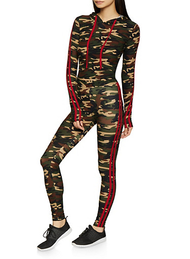 Varsity Stripe Camo Hooded Top and Leggings Set,RED,large
