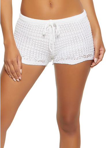 Knit Drawstring Waist Shorts,WHITE,large