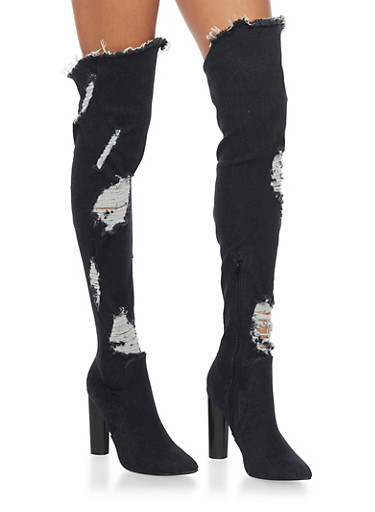Ripped Thigh High Denim Boots,BLACK DENIM,large